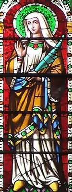 A stained glass image of St. Withburgh of Dereham (source - 'Early British Kingdoms' website)
