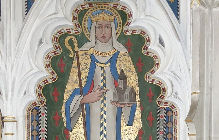 Depiction of St. Withburgh on the painted panel behind the High Altar of St. Nicholas Church, Dereham, Norfolk (kindly provided by the churchwarden of St. Nicholas Church)