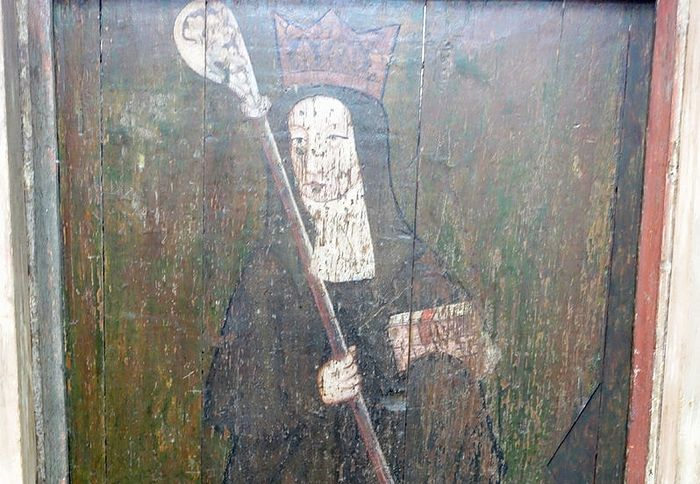 Painting of St. Withburgh on the fifteenth-century screen in the Lady Chapel of St. Nicholas Church, Dereham, Norfolk (kindly provided by the churchwarden of St. Nicholas Church)