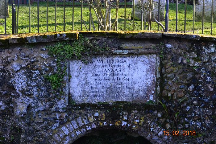 St. Withburga's well and a plate above it in Dereham, Norfolk (provided by the churchwarden of Dereham church)