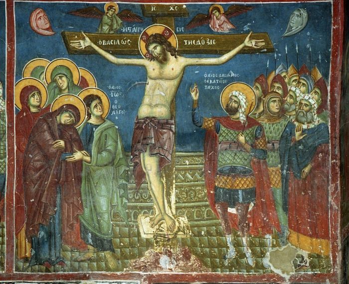 Holy and Great Friday. The Crucifixion. Fresco in the Church of St. Nicholas in Prilepe, Macadonia. 11th-13th c.
