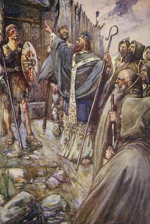 St. Columba's miracle at the gate of King Brude's fortress.
