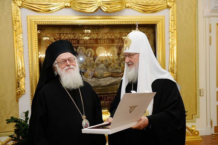 Patriarch Kirill and Archbishop Anastasios last met in Moscow in early December. Photo: mospat.ru