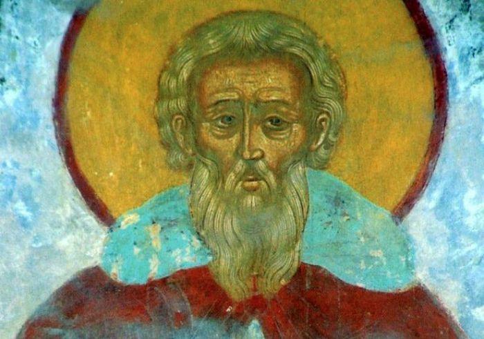 Преподобный Даниил Переяславский. Фреска на столпе Троицкого собора Свято-Троицкого Данилова монастыря.