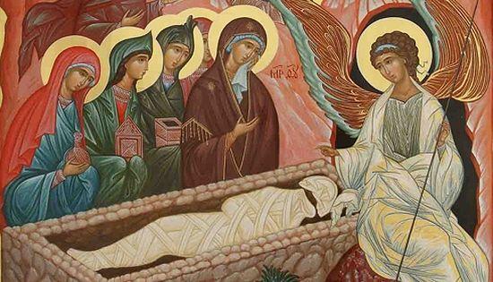 Святые жены-мироносицы у Гроба Христова