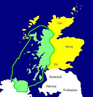 The territory of Dalriada in its heyday, the 590s.