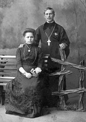 Priest Alexander Gnevushev with his spouse Claudia Andreevna.