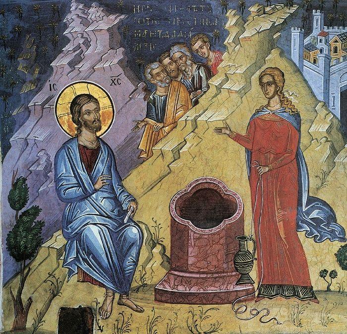 Христос и Самарянка. Фреска из монастыря Дионисиат (Афон)