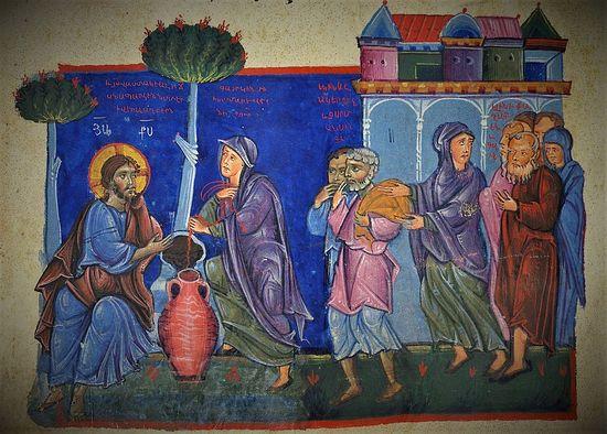Беседа Христа с самарянкой (Ин.4, 4-29). Миниатюра из Евангелия. Армения. XIII в.