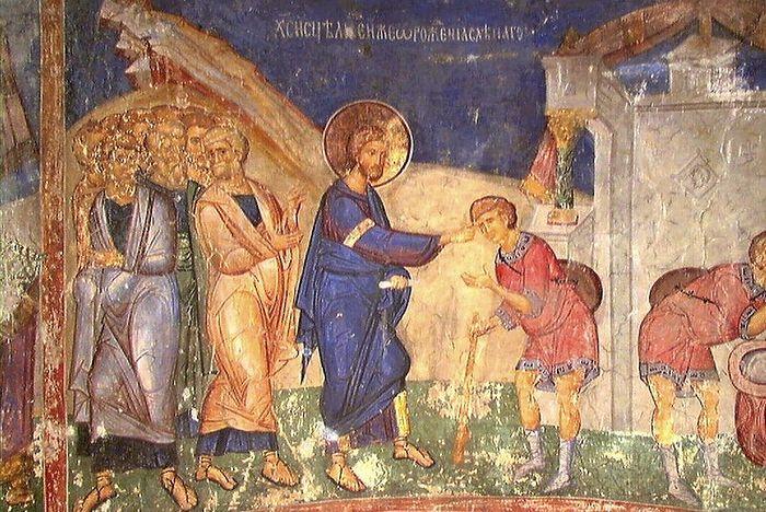 Исцеление слепорожденного. Фреска церкви Вознесения Господня в монастыре Раваница, Сербия. 1380-е гг.