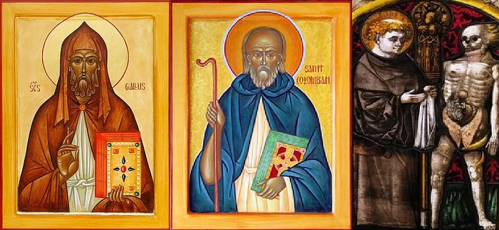 St. Gall (left, photo: johnsanidopoulos.com), St. Columban (center, photo: catholic.org), St. Fridolin (right, photo: catholicsaints.info)