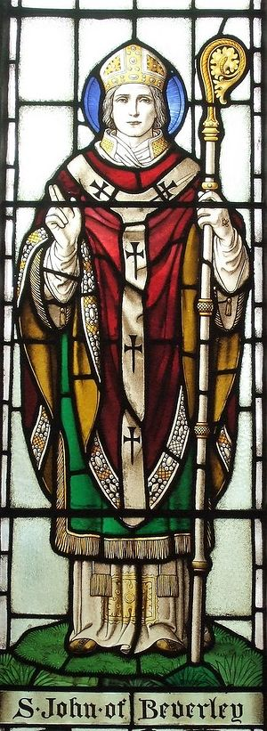 Stained glass window depicting St. John of Beverley inside St. John Lee Church in Acomb, Northumb. (kindly provided by the rector of St. John Lee Church)