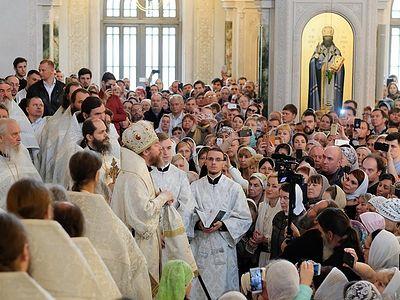 Divine Liturgy in Sretensky Monastery on the eve of Metropolitan Tikhon's departure to the Pskov Metropolitanate