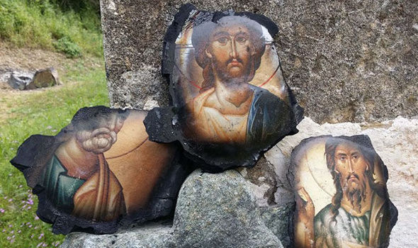 The icons of Jesus Christ, Saint John the Baptist and Saint Peter faces were untouched