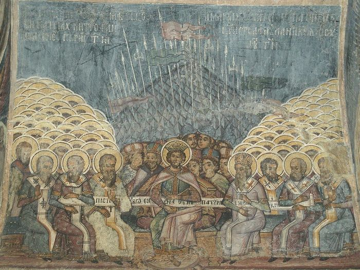 The First Council of Nicea, wall painting at the church of Stavropoleos, Bucharest, Romania. Photo: Wikipedia
