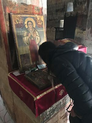 St. Bosiljka's relics are in the stone column behind her icon