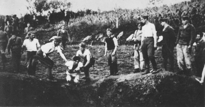 The Ustase executing prisoners at the Jasenovac Concentration Camp