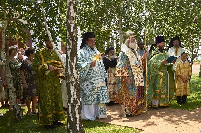 His Beatitude Pope and Patriarch Theodore II of Alexandria and All Africa presides over the festal service on the patronal feast of St. Sergius parish in Johannesburg.