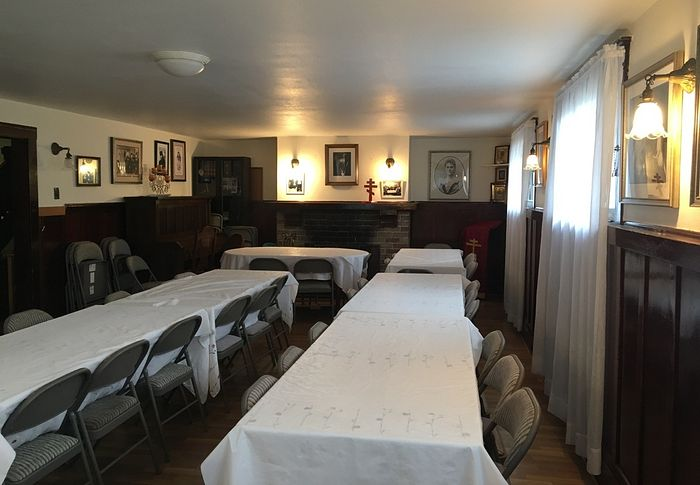 The dining room in the San Francisco orphanage.