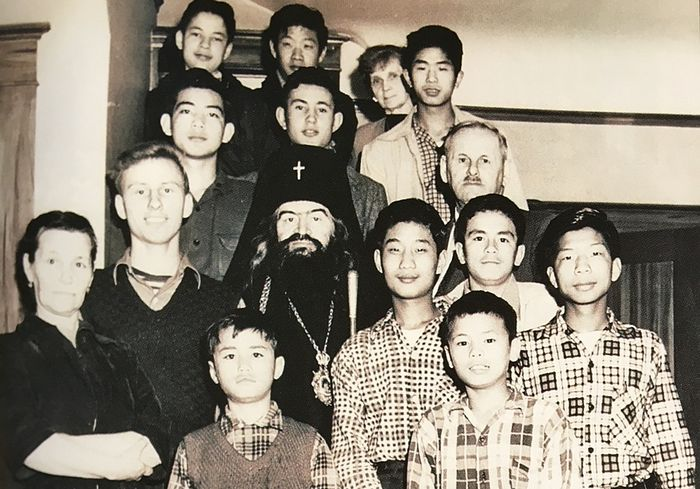 Vladyka with the children of the orphanage in San Francisco.