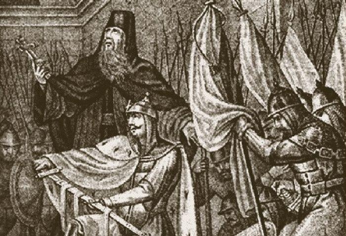 Молитва псковского князя Довмонта. 1269 г. Литография Б.А.Чорикова по рисунку Кумминга. 1863 год.