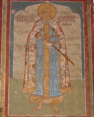 Фреска «Святой Благоверный Княаь Довмонт-Тимофей Псковский» в храме Николы Мокрого (XVII век) в Ярославле.