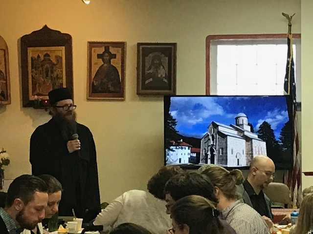 Monk Sophronios giving a talk in America on life in Kosovo