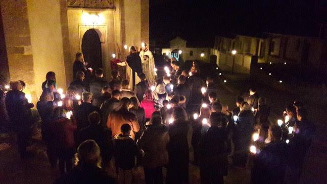 The faithful of Draganac Monastery on holy Pascha night
