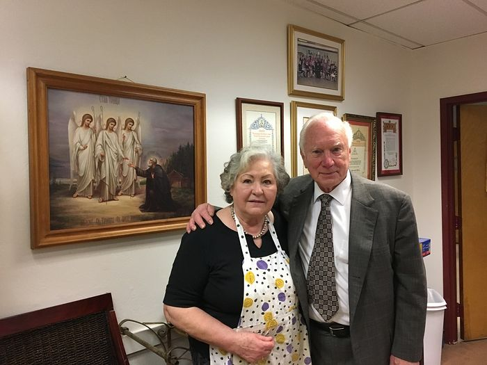 "Nicholai Lukianov and his wife Valentina at the office of the Russian Cathedral of the ""Joy of All Who Sorrow"" icon of the Mother of God in San Francisco."