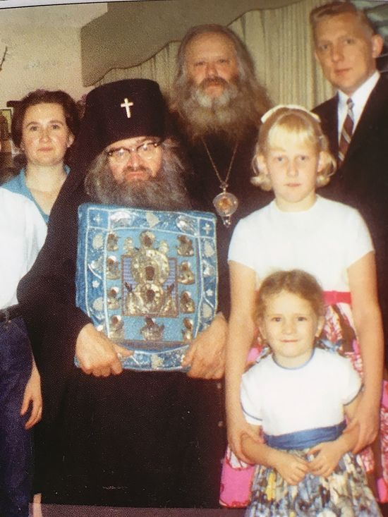 St. John with the wonderworking Kursk Root icon of Holy Theotokos, accompanied by Bishop Nektary. 1965.