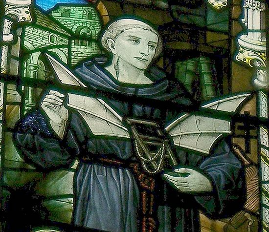 A stained glass depicting Monk Eilmer at Malmesbury Abbey, Wilts (photo from Wikipedia)