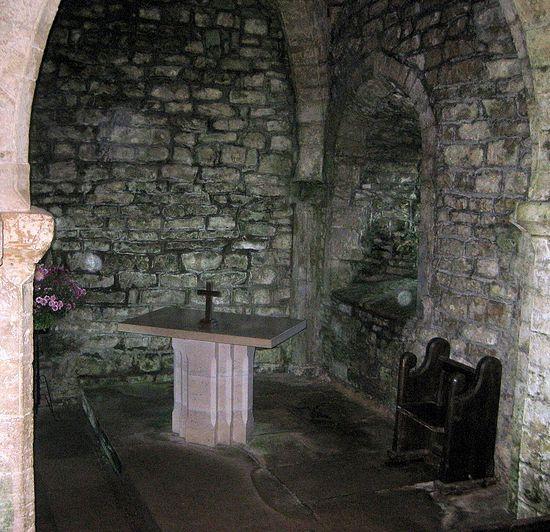 Interior of St. Aldhelm's Chapel in St. Aldhelm's Head, Dorset