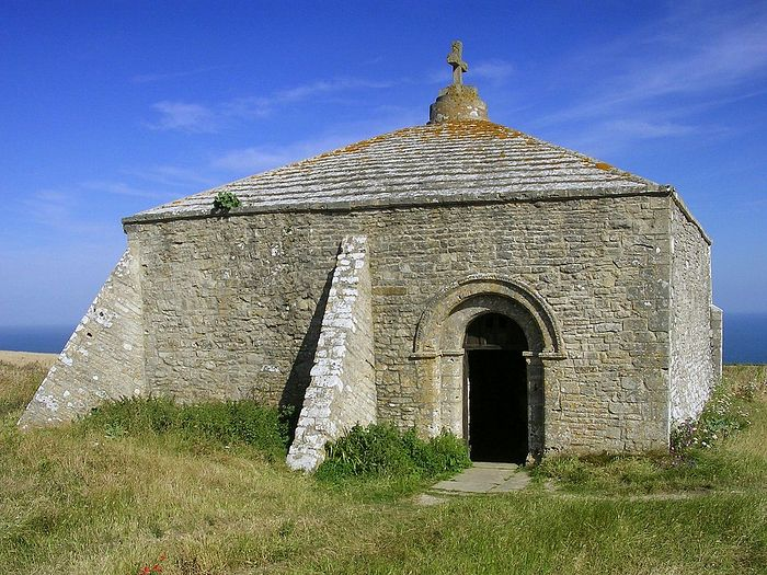 St. Aldhelm's Chapel at St. Aldhelm's Head, Dorset (photo from Wikipedia)