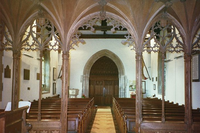 St. Aldhelm's Church interior, looking west, Bishopstrow, Wilts (kindly provided by the parish of Bishopstrow)