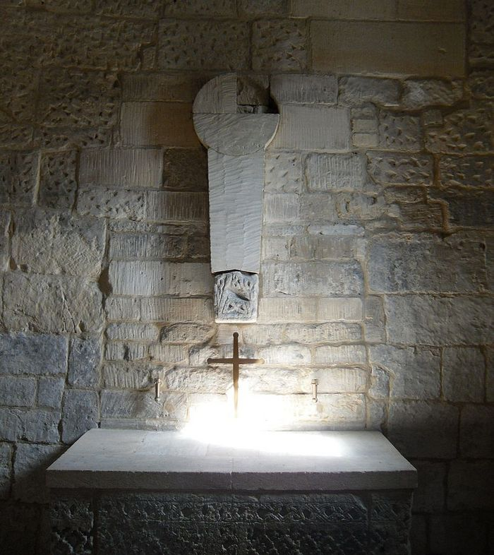 The altar and cross fragments inside the chapel of St. Laurence's Saxon Church, Bradford-on-Avon, Wilts (photo by Irina Lapa)