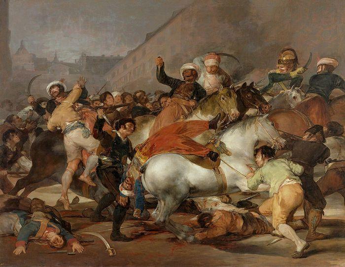 Восстание 2 мая 1808 года в Мадриде (одноимённая картина испанского художника – современника произошедших событий Ф.Гойи). На полотне изображено нападение слабовооружённых граждан Мадрида на отряд гвардейской французской кавалерии из числа оккупационных сил, включающий «сарацин» (мусульманских всадников-мамелюков, бывших на службе у Наполеона, и своими антихристианскими действиями вызывавших особый гнев мадридцев).