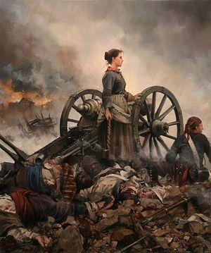 «Последний номер артиллерийского расчета, или Августина Арагонская» – картина современного испанского художника А.Ферреро-Дальма, показывающее событие «Пиренейской войны», когда юная испанка, в очередной раз принеся еду на артиллерийскую батарею защитникам родного города, оказалась на позициях как раз во время французской атаки и, встав у орудия, героически сражалась против оккупантов, заменив павших воинов.