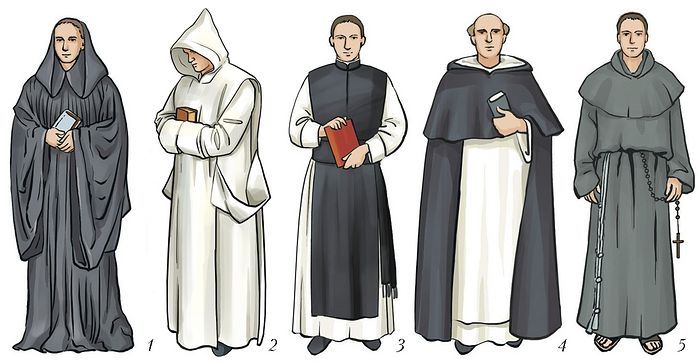 Habits of monks of various orders, from left to right: Benedictine, Carthusian, Cistercian, Dominican, Franciscan.