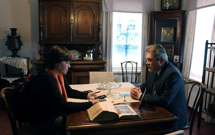 Директор тамбовского Историко-культурного центра имени святителя Луки Андрей Швецов во время интервью