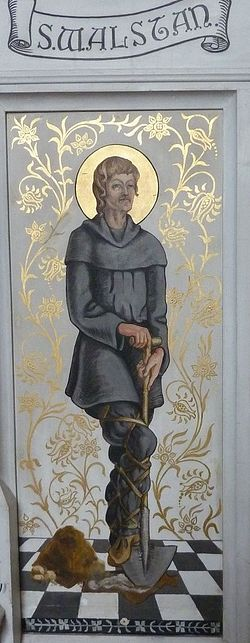 Depiction of St. Walstan on the screen of St. Andrew's Church in Great Ryburgh, Norfolk (provided by the churchwarden of Great Ryburgh church)