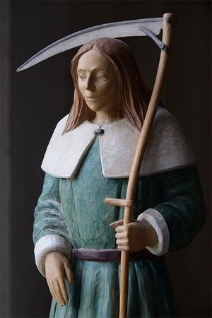 The statue of St. Walstan in the church of Bawburgh, Norfolk (source - Bawburghvillage.co.uk)