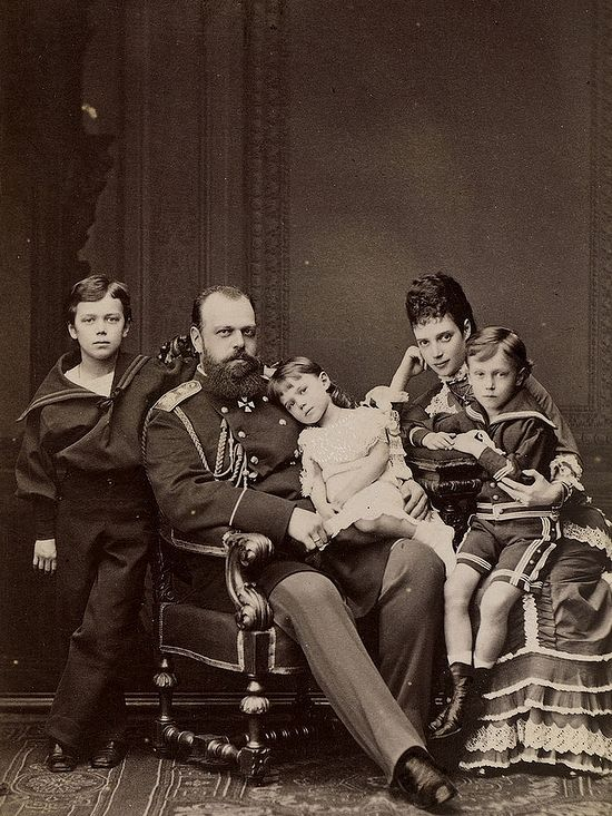 Tsar Alexander III with Maria Feodorovna and children
