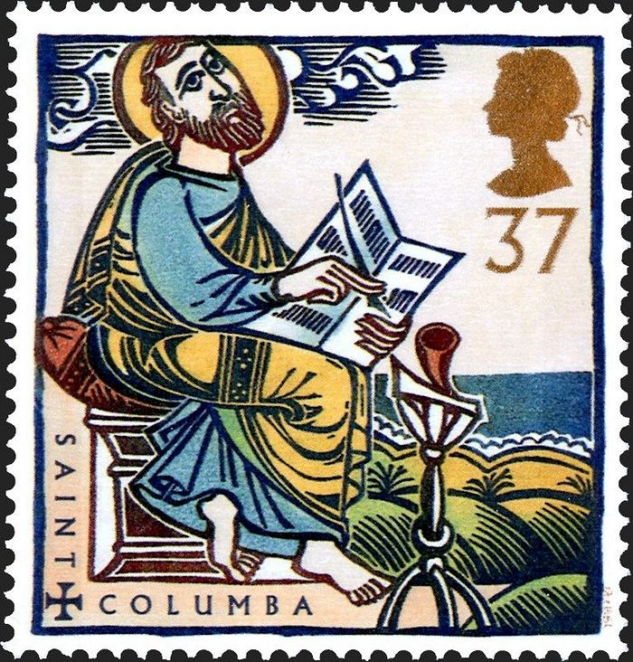 Преподобный Колумба, Ионский чудотворец. Марка с изображением святого