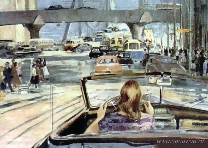 Юрий Пименов. Новая Москва (фрагмент). 1960 год