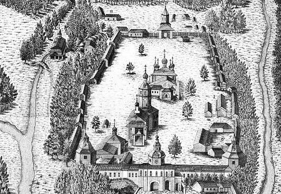Наиболее старое изображение Саровской пустыни, относящееся к середине 18 века. Изображение с сайта sarpust.ru