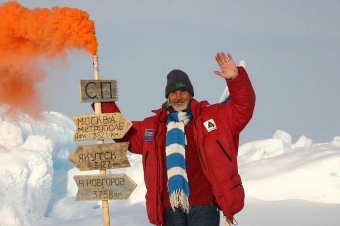 В.А.Ефремов в составе экспедиции на Северном полюсе