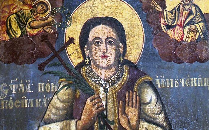 Святая новомученница Босилька. Старинная икона в Пасьяне. Косово