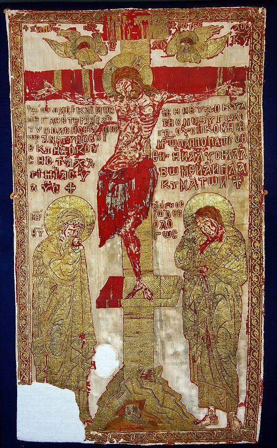 Пелена. Конец XIII века. Происходит из церкви Богоматери Перивлепты в Охриде