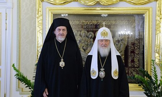 Pat. Kirill with Met. Emmanuel of Gaul, from a 2016 meeting in Moscow. Photo: mospat.ru