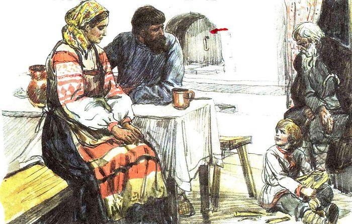 Иллюстрация к басне Льва Толстого «Старый дед и внучек»